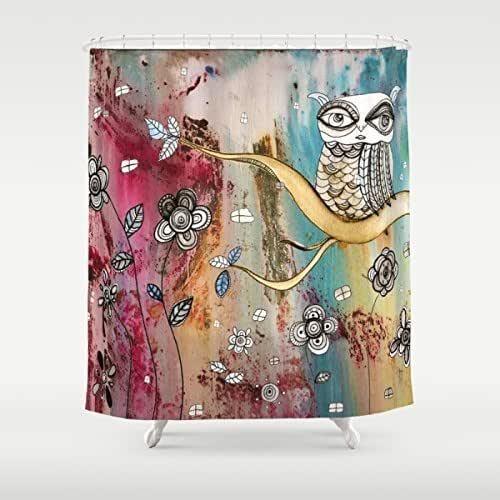 Amazon.com: Surreal Owl Shower Curtain. Shabby Chic Home
