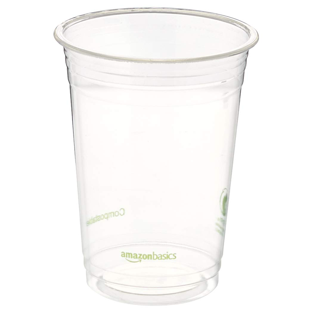 AmazonBasics 16 oz. Compostable PLA Cold Cup, Clear, 1,000-Count