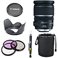 Canon EF-S 17-55mm f/2.8 IS USM Lens for Canon DSLR Cameras + 3pc Filter Kit + Tulip Lens Hood + Deluxe Lens Pouch + Cap Keeper + Lens Cleaning Pen Accessory Bundle Kit