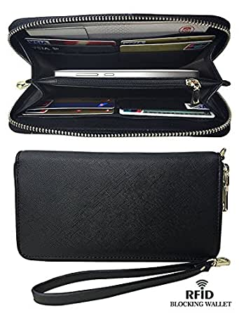 Womens RFID Blocking Large Capacity Leather Clutch Zipper Card Wallets