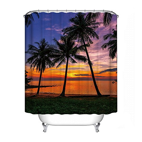 FANNEE Coconut Tree Beach Decoration Shower Curtain