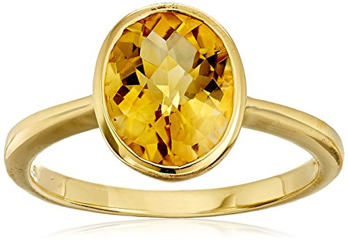 Citrine Oval Cut Ring in Yellow Gold Flashed Sterling Silver, Size 7 Oval Citrine Bezel