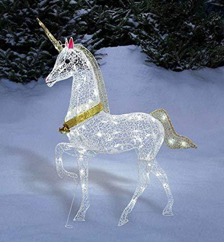 Christmas Glitter Unicorn Lighted Yard Art Decoration Indoor / Outdoor 40 Inch