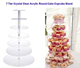 Flagup 7 Tier Clear Circle Round Cupcake Stand Clear Acrylic Cake Display Cupcake Holders for Wedding Birthday Display