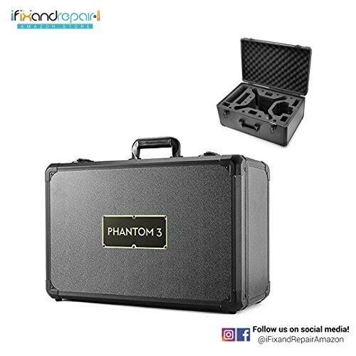 Price comparison product image DJI Phantom 3 / 4 Suitcase by iFixandRepair | Aluminum + Carry Handle + Pre Cut Foam Slots + Storage Case + Travel Organizer (Black)