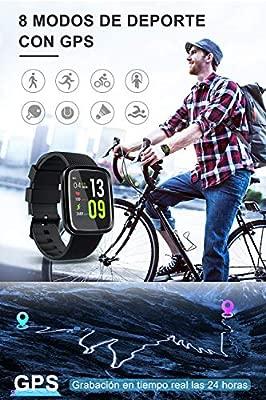VASCOO SmartWatch, Reloj Inteligente con Impermeable 67, Pulsera Actividad Inteligente con Monitor Rítmo Cardíaco Calorías, 8 Modos Deportes GPS, ...