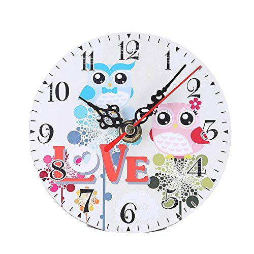 LANHSTORE 2019 Cartoon Owl Style Walls Clock Silent Round Wooden Wall Watch Living Room Bedroom Home Decoration Accessory Christmas Gifts ()
