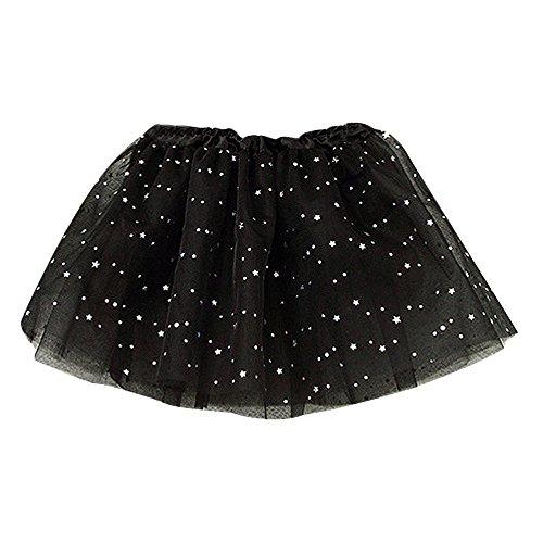 Sinfu Baby Kids Girls Princess Stars Sequins Party Dance Ballet Tutu Skirts (One Size, Black)