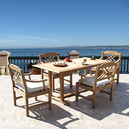 Roland Premium Grade Teak Dining Furniture 5PC Set Sunbrella (Frontgate Dining Arm Chair Cushion)