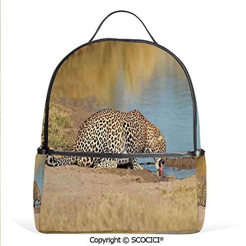 Hot Sale Backpack outdoor travel Leopard Panther Drinking at Waterhole Safari Wild South African Animal Documentary Print,Light Brown,With Water Bottle Pockets