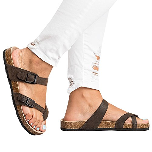 Womens Thong Flat Strappy Slip on Cork Sole Ankle Strap Flip Flops Gladiator - Platform Thong Shoes