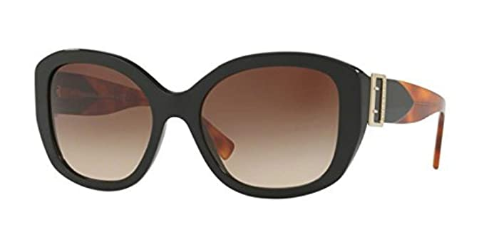 5d876f2b9c26 Burberry Women s BE4248F Sunglasses Black Brown Gradient 57mm at Amazon Women s  Clothing store