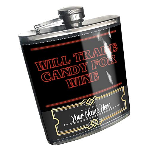 Neonblond Flask Will Trade Candy for Wine Halloween Strange and Spooky Custom Name Stainless Steel]()
