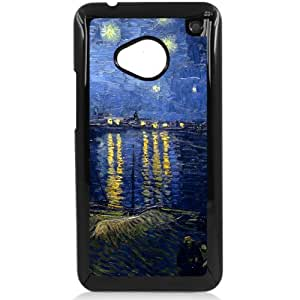 Vincent van Gogh oil painting Starry Night Over the Rhone HTC One M7 Hard Plastic Black or White case (Black)