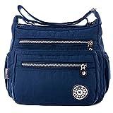 Fadsace Womens Lightweight Nylon Cross Body Shoulder Bag Casual Zipper Messenger Bag (Deep Blue)