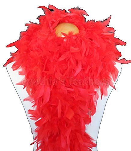 Cynthia's Feathers 80g Turkey Chandelle Feather Boas over 30 Color & Patterns (Red) Flapper Boa
