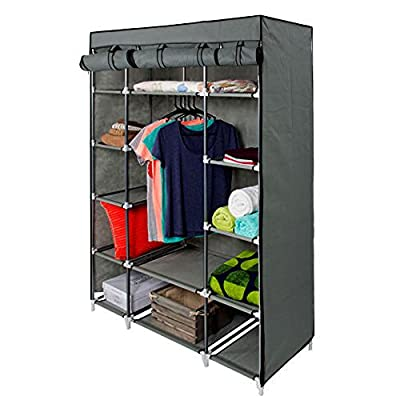 "53"" Gray Portable Closet Storage Organizer Clothes Wardrobe Rack with Shelves"
