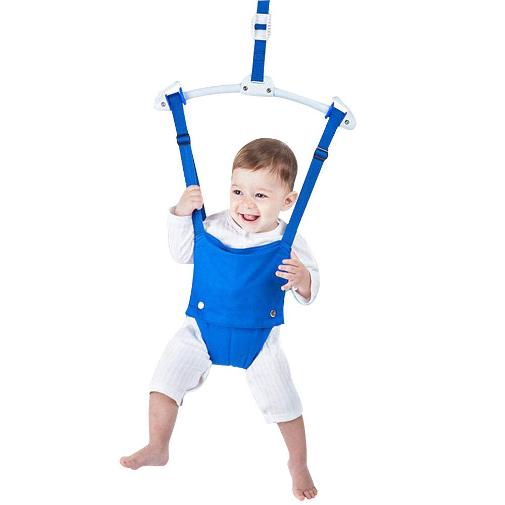OUTING MAN Door Jumper Swing Bumper Jumper Exerciser Set with Door Clamp Adjustable Strap for Toddler Infant 6-24 Months (Blue)