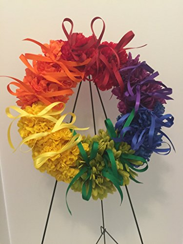 COLLEGE PRIDE - SPIRIT - LGBTQ - STUDENT ORGANIZATIONS - UNIVERSITY DIVERSITY GROUPS - GAY PRIDE - DORM - COLLECTOR WREATH - RAINBOW CARNATIONS, ZINNIAS, AND DAISIES - RAINBOW FLAG by Peters Partners Design (Image #2)