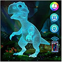 3D Dinosaurus Illusion Lamp, 3D Nachtlampje voor Jongens Meisjes Tafelbureaulamp 7 Kleur Veranderende Woondecoratie…