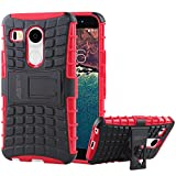 LG Nexus 5X Case - Armatus Gear (TM) Pixel Rugged Hybrid Armor Case Shockproof Tough Cover Protector with Kickstand For LG Nexus 5X (New LG Nexus 5 - 2nd Gen - 2015 Release) - Red
