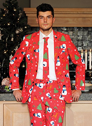 OppoSuits  Men's Christmaster Suit Bright Red (Christmaster Suit)