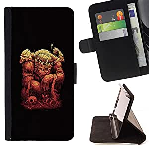 DEVIL CASE - FOR Sony Xperia M2 - The Monkey King - Style PU Leather Case Wallet Flip Stand Flap Closure Cover