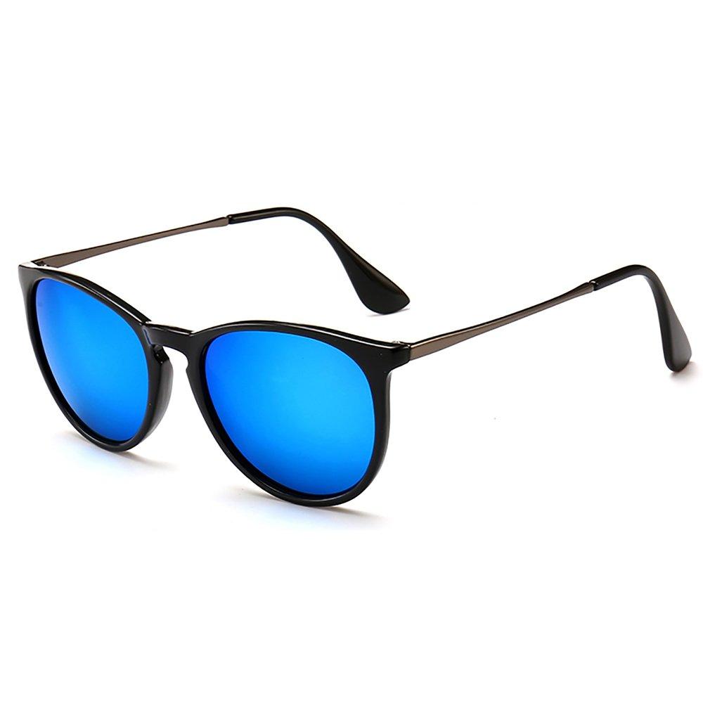 SUNGAIT Vintage Round Sunglasses for Women Classic Retro Designer Style Black Frame (Glossy Finish) /Blue Lens 1567 LHKLA