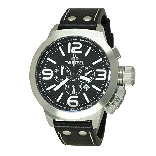 TW Steel Men's TW4 Canteen Black Leather Black Dial Watch