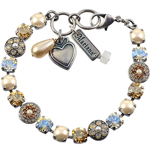 Mariana Bracelet, Champagne and Caviar Silver Plated Crystal, 8