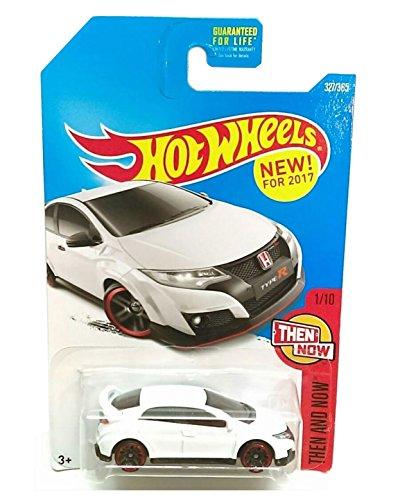 Hot Wheels White Honda Civic R Hot Wheels 2017 Then And Now '16 Honda Civic Type R 1:64 Scale Collectible Die Cast Metal Toy Car Model 327/365