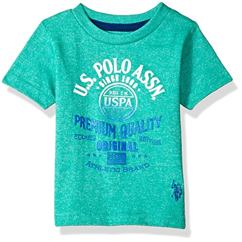 U.S. Polo Assn. Baby Boys Short Sleeve Fancy Crew Neck T-Shirt, Gradiant Screenprint Marled Island Jade, 18M