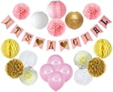 Baby Shower Decorations For Girl – Its A Girl Party Ideas - FREE Game Ideas & Checklist Ebook! - Plush Pink and Gold - Banner - Tissue Paper Pom Pom - Paper Lantern - Balloons - Party Decoration