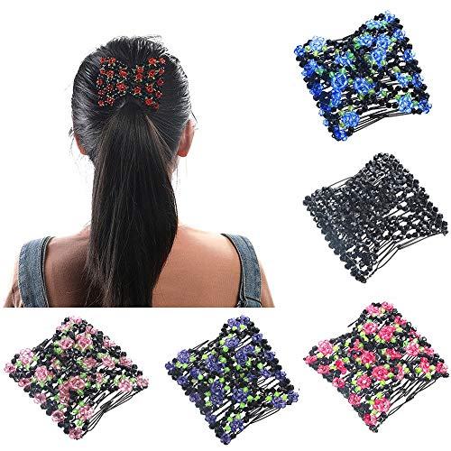 Hair Accessories,Women's Double Hair Comb Magic Beads Elasticity Clip Headbands (Purple)