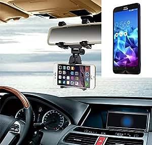 Sostenedor del montaje espejo retrovisor para Asus ZenFone 2 Deluxe, negro   Escuadra de coches - K-S-Trade (TM)
