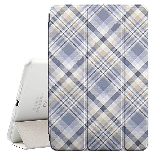 Compatible with Apple iPad Air 2 (2nd Generation) - Leather Smart Cover + Hard Back Case with Sleep/Wake Function (Plaid Dusty Blue Indigo)