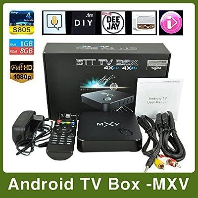 Caja de TV MU MXV Bluetooth Smart Android TV Box, Kodi Pre instalados Amlogic S805 Quad Core Android 4.4, mejor que MXQ CS918, Q7: Amazon.es: Electrónica