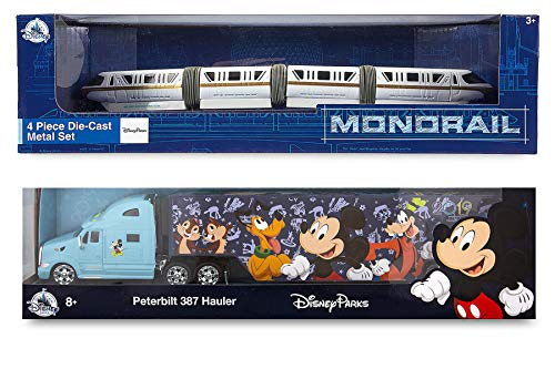 (World on The Move Disney Monorail 2019 Disney Theme Parks Transportation - Walt Disney Parks Model Peterbilt Semi Hauler Truck Tractor Trailer with Mickey & Character Art Die-Cast Exclusive 2-Pack)