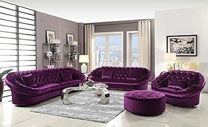 Superbe Coaster Romanus Tufted Sofa In Purple