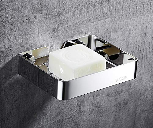 YunNasi Wall Mounted Soap Dish Holder Stainless Steel Shower Soap Saver Square Soap Basket for Bathroom Home Kitchen (Polished Silver, 13.5 x 9.5 x 2.5(cm))