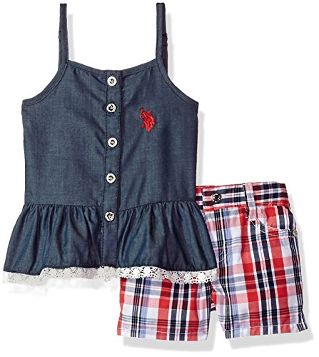 U.S. Polo Assn. Baby Girls Fashion Top Set, Peplum Tank Eyelet Trim Plaid Short Multi, 12M