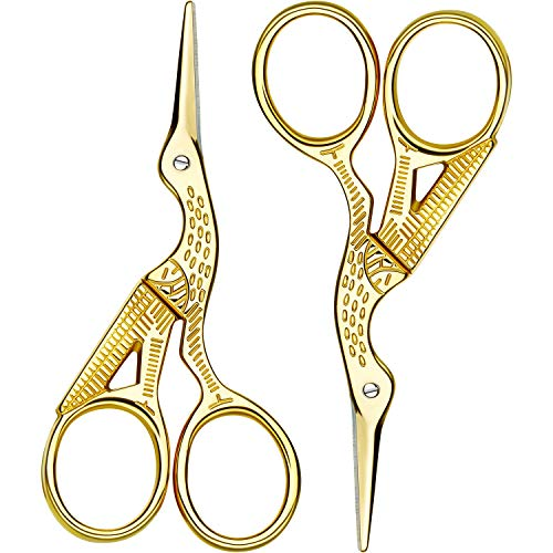 Gold Stork Embroidery Scissors - 2 Pack Stork Scissors Embroidery Scissors Sewing Scissors Brow Shaping Scissors Small for Crafting, Art Work, Threading, Needlework, Stainless Steel, 3.6 Inch (Gold)