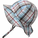 Toddler Sun Hat with Chin Strap, Drawstring Adjust Head Size, Breathable 50+ UPF (M: 6m - 3Y, Summer plaid )