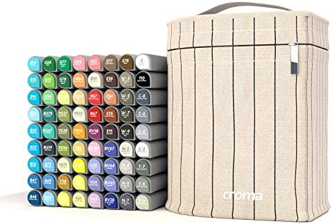 Amazon.com: Croma Lite Brush Dual Tip Alcohol Based Sketch Markers, 72  Manga Set, for Coloring Manga, Comic, Illustrations, Art, Industrial  Design, Professional Artists, with Cotton Canvas Bag