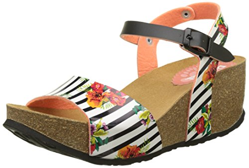 Desigual Bio7 Flores and Rayas, Heels Sandals para Mujer Blanco (white 1000)