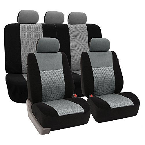 FH GROUP FB060115 Full Set Trendy Elegance Car Seat Cover, Airbag Compatible & Split Ready, Gray / Black Color (2002 Gmc Yukon Seat Covers compare prices)