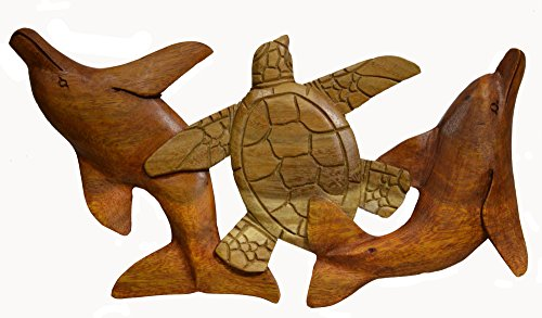 HAND CARVED BEAUTIFUL WOOD TURTLE DOLPHIN WALL SCULPTURE (Dolphins Wood Sculpture)