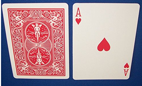 Red Back Bicycle Playing Card Force Deck Hearts, -
