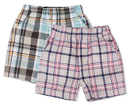 - Keepersheep Baby Boy 2 Pack Short Pants (12-18 Months, Multicolor Plaid)