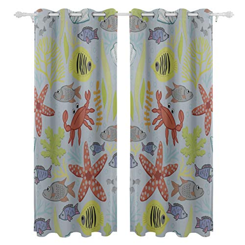 Baron Window Curtains Marine Underwater Crab Coral Single-Sided Drapes Window Treatment Shower Curtain Panel Bedroom Bath 55x78 Inch 2 Pcs Girls Curtains for Bedroom ()